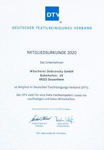 Deutscher Textilreinigungsverband Mitgliedsurkunde 2020